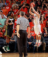 CHARLOTTESVILLE, VA- DECEMBER 6: Sammy Zeglinski #13 of the Virginia Cavaliers shoots over Jonathan Arledge #5 of the George Mason Patriots during the game on December 6, 2011 at the John Paul Jones Arena in Charlottesville, Virginia. Virginia defeated George Mason 68-48. (Photo by Andrew Shurtleff/Getty Images) *** Local Caption *** Jonathan Arledge;Sammy Zeglinski