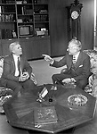 U.S. Postmaster William Bolger and German Minister for Post and Telecommunications Dr. Christian Schwartz-Shilling meet in Bolger's Washington, DC office on April 27, 1983.
