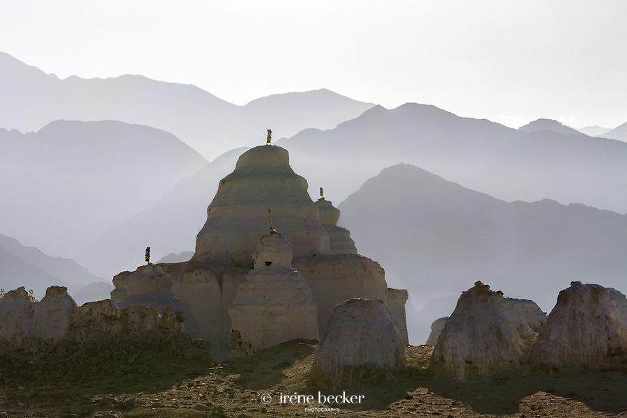 Stupa Cemetery.  Shey,  Jammu and Kashmir, India. The largest chorten field in Ladakh.