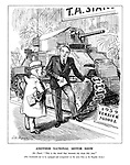 """Another National Motor Show. Mr. Punch. """"This is the stand that interests me most this year."""" [The Territorials are to be equipped and reorganised on the ame lines as the Regular Army.]"""