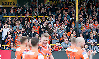 Picture by Allan McKenzie/SWpix.com - 13/05/2017 - Rugby League - Ladbrokes Challenge Cup - Castleford Tigers v St Helens - The Mend A Hose Jungle, Castleford, England - Castleford fans celebrate their side's victory.