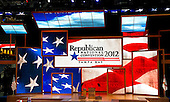 """Empty podium prior to the opening session of the 2012 Republican National Convention in Tampa Bay, Florida on Monday, August 27, 2012.  Due to the effects of Hurricane Isaac, it was immediately recessed """"subject to the call of the chair""""..Credit: Ron Sachs / CNP.(RESTRICTION: NO New York or New Jersey Newspapers or newspapers within a 75 mile radius of New York City)"""