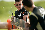 BEACON FALLS,  CT-051917JS11- Woodland's Zac Bertrand, left, and Brandon McCusker, compete in the cross cut competition during the Axe Games with Wamogo Friday at Woodland Regional High School in Beacon Falls.<br />  Jim Shannon Republican-American