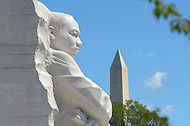 August 23, 2011 (Washington, DC)  A photo of the Martin Luther King Jr. National Memorial and the Washington Monument in Washington, DC.   (Photo: Media Images International)