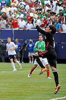 Mexico (MEX) goalkeeper Guillermo Ochoa (1) catches the ball. Mexico (MEX) defeated the United States (USA) 5-0 during the finals of the CONCACAF Gold Cup at Giants Stadium in East Rutherford, NJ, on July 26, 2009.