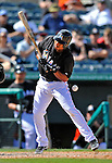 13 March 2012: Miami Marlins infielder Donovan Solano is hit by a pitch in the 10th inning of a Spring Training game against the Atlanta Braves at Roger Dean Stadium in Jupiter, Florida. The two teams battled to a 2-2 tie playing 10 innings of Grapefruit League action. Mandatory Credit: Ed Wolfstein Photo