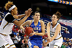 04 March 2016: Duke's Angela Salvadores (ESP) (3) is defended by Notre Dame's Michaela Mabrey (23) and Brianna Turner (left). The Duke University Blue Devils played the University of University of Notre Dame Fighting Irish at the Greensboro Coliseum in Greensboro, North Carolina in an Atlantic Coast Conference Women's Basketball Tournament Quarterfinal and a 2015-16 NCAA Division I Women's Basketball game. Notre Dame won the game 83-54.