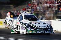 May 18, 2012; Topeka, KS, USA: NHRA funny car driver Mike Neff during qualifying for the Summer Nationals at Heartland Park Topeka. Mandatory Credit: Mark J. Rebilas-