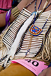 Closeup of Pow Wow Regalia beading and bone work. Native American Ethnic Pride