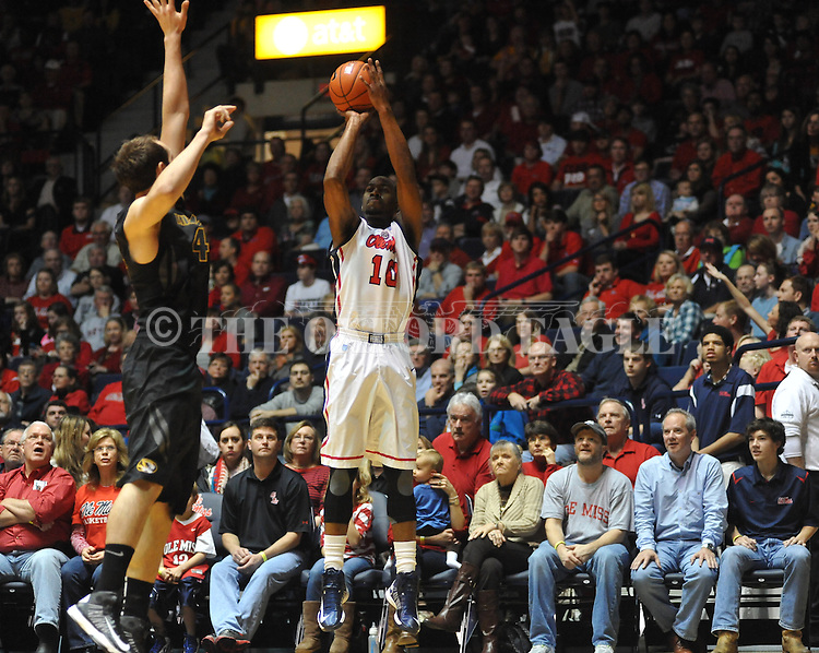"Ole Miss' LaDarius White (10) vs. Missouri at the C.M. ""Tad"" Smith Coliseum on Saturday, January 12, 2013. Ole Miss defeated #10 ranked Missouri 64-49."