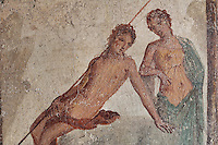 Fresco of Echo and Narcissus, with Narcissus falling in love with his own reflection, on the North wall of a small room off the atrium of the Casa dell Efebo, or House of the Ephebus, Pompeii, Italy. The fresco is in the Fourth Style of Roman wall painting, 60-79 AD, a complex narrative style. This is a large, sumptuously decorated house probably owned by a rich family, and named after the statue of the Ephebus found here. Pompeii is a Roman town which was destroyed and buried under 4-6 m of volcanic ash in the eruption of Mount Vesuvius in 79 AD. Buildings and artefacts were preserved in the ash and have been excavated and restored. Pompeii is listed as a UNESCO World Heritage Site. Picture by Manuel Cohen