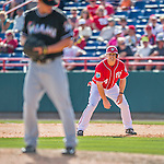 7 March 2016: Washington Nationals outfielder Chris Heisey takes a lead off first during a Spring Training pre-season game against the Miami Marlins at Space Coast Stadium in Viera, Florida. The Nationals defeated the Marlins 7-4 in Grapefruit League play. Mandatory Credit: Ed Wolfstein Photo *** RAW (NEF) Image File Available ***