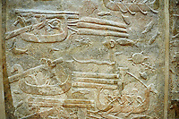 Stone relief sculptured panel of cedar of Lebanon being transported. From the northern courtyard,  Inv AO 19889 from Dur Sharrukin the palace of Assyrian king Sargon II at Khorsabad, 713-706 BC.  Louvre Museum Room 4 , Paris