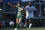 31 August 2014: UAB's Rachel Green (20) and Duke's Toni Payne (10). The Duke University Blue Devils hosted the University of Alabama Birmingham Blazers at Koskinen Stadium in Durham, North Carolina in a 2014 NCAA Division I Women's Soccer match. Duke won the game 3-1.