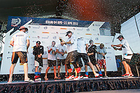 BRAZIL, Itajai. 6th April 2012. Volvo Ocean Race. The crew of Puma Ocean Racing powered by BERG celebrate their Leg 5 victory.