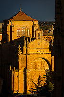 Salamanca (Wednesday, October 24, 2012) Convent of San Esteban. The church facade, complete with it's 'dustcover' and fine ornamentation that seems to turn to gold when touched by sunlight, constitutes one of the most complete illustrations of Spanish Renaissance. The beautiful convent cloister combines a Gothic design with Renaissance decorative elements, as is the case with buildings erected throughout the 16th century. Salamanca is a city in northwestern Spain, the capital of the Province of Salamanca in the community of Castile and León. Its Old City was declared a UNESCO World Heritage Site in 1988. With a metropolitan population around 192,000 it is the second most populated urban area in Castile and León, after Valladolid (369,000), and closely followed by Leon (187,000) and Burgos (176,000)...It is the most important university city in Spain and supplies 16% of Spain's market for the teaching of the Spanish language.[1][2] Salamanca attracts thousands of international students,[3] generating a diverse environment...It is situated approximately 200 km (120 mi) west of the Spanish capital Madrid and 80 km (50 mi) east of the Portuguese border. The University of Salamanca, which was founded in 1218, is the oldest university in Spain and the third oldest western university, but the first to be given its status by a Pope (Alexander IV).Photo: joliphotos.com