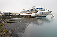 "Princess Cruise liner ""Island Princess"" docked in Whittier, Alaska."