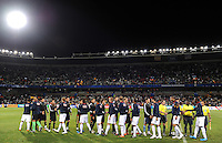 The two teams shake hands before the match. USA defeated Spain 2-0 during the semi-finals of the FIFA Confederations Cup at Free State Stadium in Manguang/Bloemfontein, South Africa on June 24, 2009..