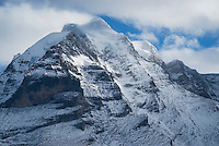 Clearing storm over the summit of Jungfrau, Bernese Alps, Switzerland