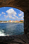 2 August 2009: A framed view of  Willemstad, the capital city of Curacao. Located in the southern Caribbean, off the coast of Venezuela, Curacao is known for its tourism, excellent scuba diving and snorkeling.  Mandatory Credit: Ed Wolfstein Photo