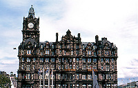 Edinburgh: The North British Hotel. Originally designed by W. Hamilton Beattie as a railway hotel for North British Airway. Now 5 star Balmoral since late '80's. Photo '87.
