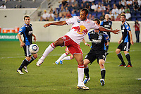 Thierry Henry (14) of the New York Red Bulls plays the ball. The New York Red Bulls defeated the San Jose Earthquakes 2-0 during a Major League Soccer (MLS) match at Red Bull Arena in Harrison, NJ, on August 28, 2010.