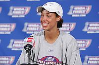 2005: Nicole Powell celebrates winning the WNBA Championships in Sacramento, CA.