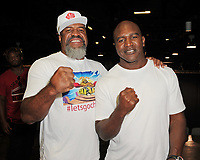 HOLLYWOOD FL - MAY 09: Evander Holyfield and Two time Heavyweight World Champion Shannon Briggs attend a press conference for the fight on June 3rd Briggs Vs Oquendo at Hard Rock Live held at the Seminole Hard Rock Hotel & Casino on May 9, 2017 in Hollywood, Florida. Credit: mpi04/MediaPunch