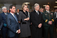 Manuel Valls, King Philippe & Queen Mathilde at Military hospital following Brussels attacks