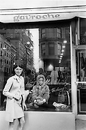 New York City. October, 1966. Emanuelle Khan presenting her fur collection at Gavroche Boutique on 827 Madison Avenue at 69th Street.