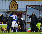 Motherwell v St Johnstone.....20.01.13      SPL.Gary Miller is helped off the pitch by physio Ferghal Kerin after suffering a suspected broken ankle..Picture by Graeme Hart..Copyright Perthshire Picture Agency.Tel: 01738 623350  Mobile: 07990 594431