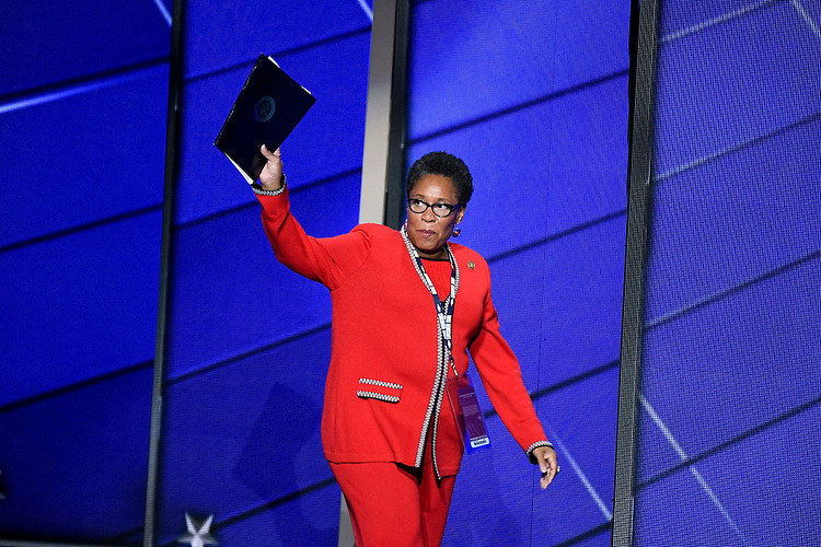 UNITED STATES - JULY 25: Convention chair Rep. Marcia Fudge, D-Ohio, arrives on stage for the opening proceedings at the Democratic National Convention in Philadelphia on Monday, July 25, 2016. (Photo By Bill Clark/CQ Roll Call)