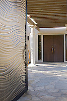 Textured glass door entry to residence