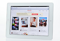 Apple Ipad showing Pinterest Website  - Jan 2013.