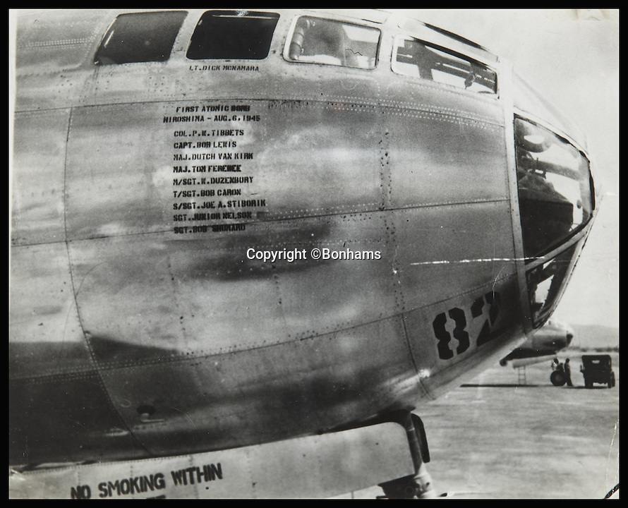 BNPS.co.uk (01202 558833)<br /> Pic: Bonhams/BNPS<br /> <br /> *Please use full byline*<br /> <br /> Lot 291:  A collection of 10 black and white vintage photographs of the Enola Gay, dated July - August 1945.  Expected to sell for &pound;1,300-2,000.<br /> <br /> Never-seen-before diagrams used to plan and execute the dropping of the world's first atomic bomb on Japan in a bid to end WWII have emerged for sale 70 years after the historic mission.<br /> <br /> The simple hand-drawn bombing plans detail exactly how and when the crew of the Enola Gay B29 bomber were to unleash their deadly payload over the port city of Hiroshima on August 6, 1945.<br /> <br /> The previously unseen documents are among a &pound;300,000 archive of material compiled by Captain Robert Lewis, co-pilot of the Enola Gay, which also includes his flight logs and report of the bombing raid.