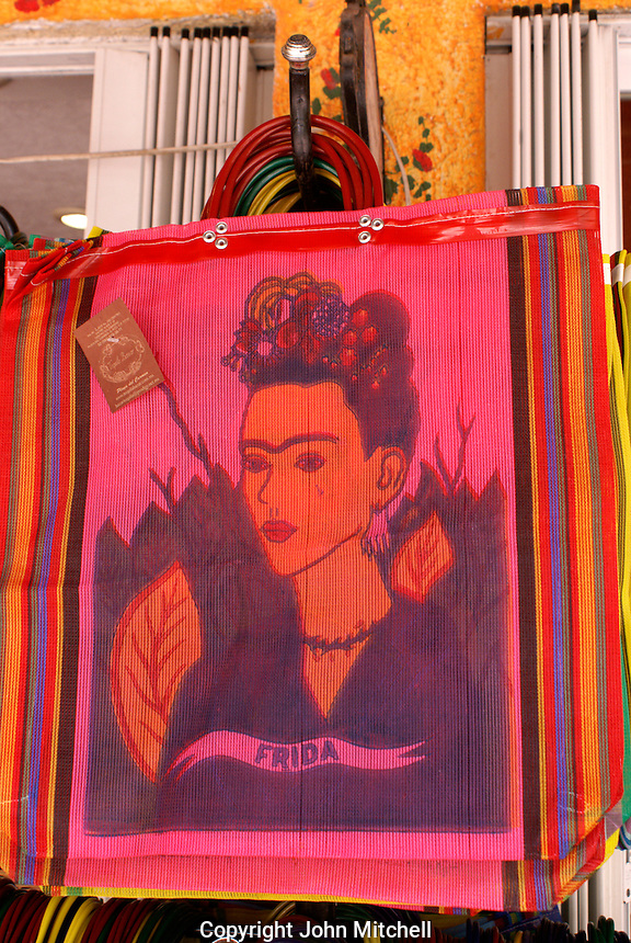Portrait of Frida Kahlo on shopping bags, Playa del Carmen, Riviera Maya, Quintana Roo, Mexico..