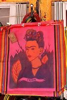 Portrait of Frida Kahlo on shopping bags, Playa del Carmen, Riviera Maya, Quintana Roo, Mexico..