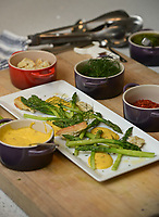 NWA Democrat-Gazette/BEN GOFF @NWABENGOFF<br /> An asparagus dish with garlic chili mayonnaise prepared by Matt McClure, executive chef of The Hive restaurant at 21c Museum Hotel, sits on display Sunday, April 2, 2017, at his home in Bentonville.