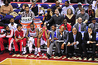 Injured John Wall talks to Rookie Bradley Beal on the Wizard's bench. Boston defeated Washington 89-86 at the Verizon Center in Washington, D.C. on Saturday, November 3, 2012.  Alan P. Santos/DC Sports Box