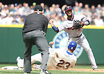 Minnesota Twins shortstop Danny Santana (39) forces out Seattle Mariners'  Nelson Cruz (23) while trying to turn a double play April 26, 2015 at Safeco Field in Seattle.  The Twins beat the Mariners beat the Angels 4--2. ©2015. Jim Bryant photo. All RIGHTS RESERVED.