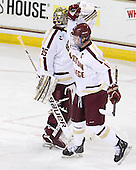 Parker Milner (BC - 35), Pat Mullane (BC - 11) - The Boston College Eagles defeated the visiting Dartmouth College Big Green 6-3 (EN) on Saturday, November 24, 2012, at Kelley Rink in Conte Forum in Chestnut Hill, Massachusetts.