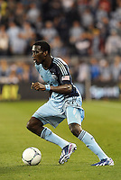 C.J Sapong (17) forward Sporting KC in action..Sporting Kansas City defeated Montreal Impact 2-0 at Sporting Park, Kansas City, Kansas.