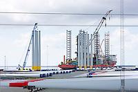 Siemens wind turbines to harness renewable wind energy under construction at Esbjerg in South Jutland, Denmark