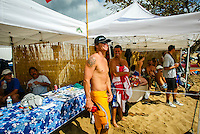 Makaha, Oahu, HAWAII – January 27, 2003 Brad Gerlach (USA) and Mark Warren (AUS).  – The secret fountain of youth was discovered on the West Side of Oahu today, at Makaha Beach, where the finals of the Quiksilver Masters were held. 1978 world surfing championWayne Bartholomew (Australia) was back on the winner's dais, winning the final of the Grand Masters division (45 years and over) from 1979-1982 world champion Mark Richards (Australia). The final of the Masters (35 to 44years) was taken out for the third consecutive year by Gary Elkerton(Australia). Elkerton defeated Brad Gerlach (Encinitas, Ca.), the only American to reach the finals. The fourth and final day of the event basked in hot sunshine and perfect waves of four-to-six feet. Photo: joliphotos.com