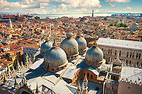 Arial view of St Mark's Basilica & Doges Palace, Venice Italy