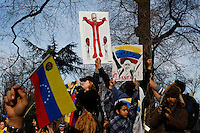 Venezuela Immigrants supporters of Leopoldo Lopez and Henrrique Capriles take part in a protest against Venezuelas president Nicolas Maduro in Central park, New York. FEB 23, 2014. Photo by Eduardo Munoz Alvarez/VIEWpress