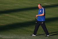 Brazil head coach Luiz Felipe Scolari checks his watch during training ahead of tomorrow's World Cup quarter final vs Colombia tomorrow