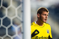Columbus Crew goalkeeper Matt Lampson (28) during warmups prior to playing the Philadelphia Union . The Columbus Crew defeated the Philadelphia Union 2-1 during a Major League Soccer (MLS) match at PPL Park in Chester, PA, on August 29, 2012.