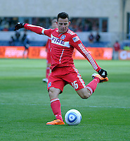 Chicago Fire midfielder Marco Pappa (16) takes a shot on goal.  The Chicago Fire defeated Sporting KC 3-2 at Toyota Park in Bridgeview, IL on March 27, 2011.