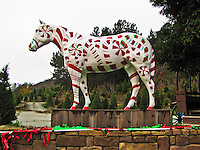 For 2010, Old Paint, the horse statue at the east end of Half Moon Bay, is sporting a coat of candy canes and mints.  Merry Christmas.